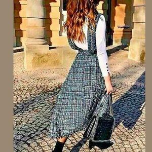 Zara tweed sarfan pinafore overall dress